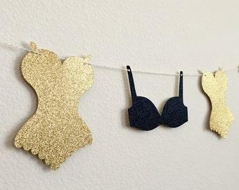 Lingerie Banner, Lingerie Party Banner, Bachelorette Party Decorations, Bra & Panties Banner, Bridal Shower Banner