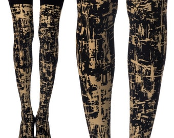 Splash fantasy print tights l Printed tights | cool winter clothing|Free Shipping| F238-BAC
