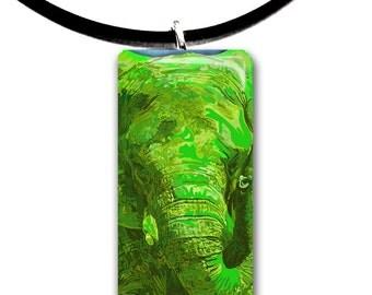 green, Elephant pendant, hand painted unique artwork, Glass tile pendant, lime green colors