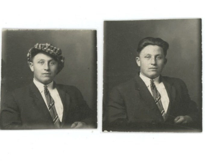 Two Vintage Arcade Mini-Portraits 1920s: Man with & without Hat (511433)