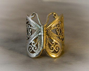 Sterling Filigree Butterfly Ring   Size 7 1/2