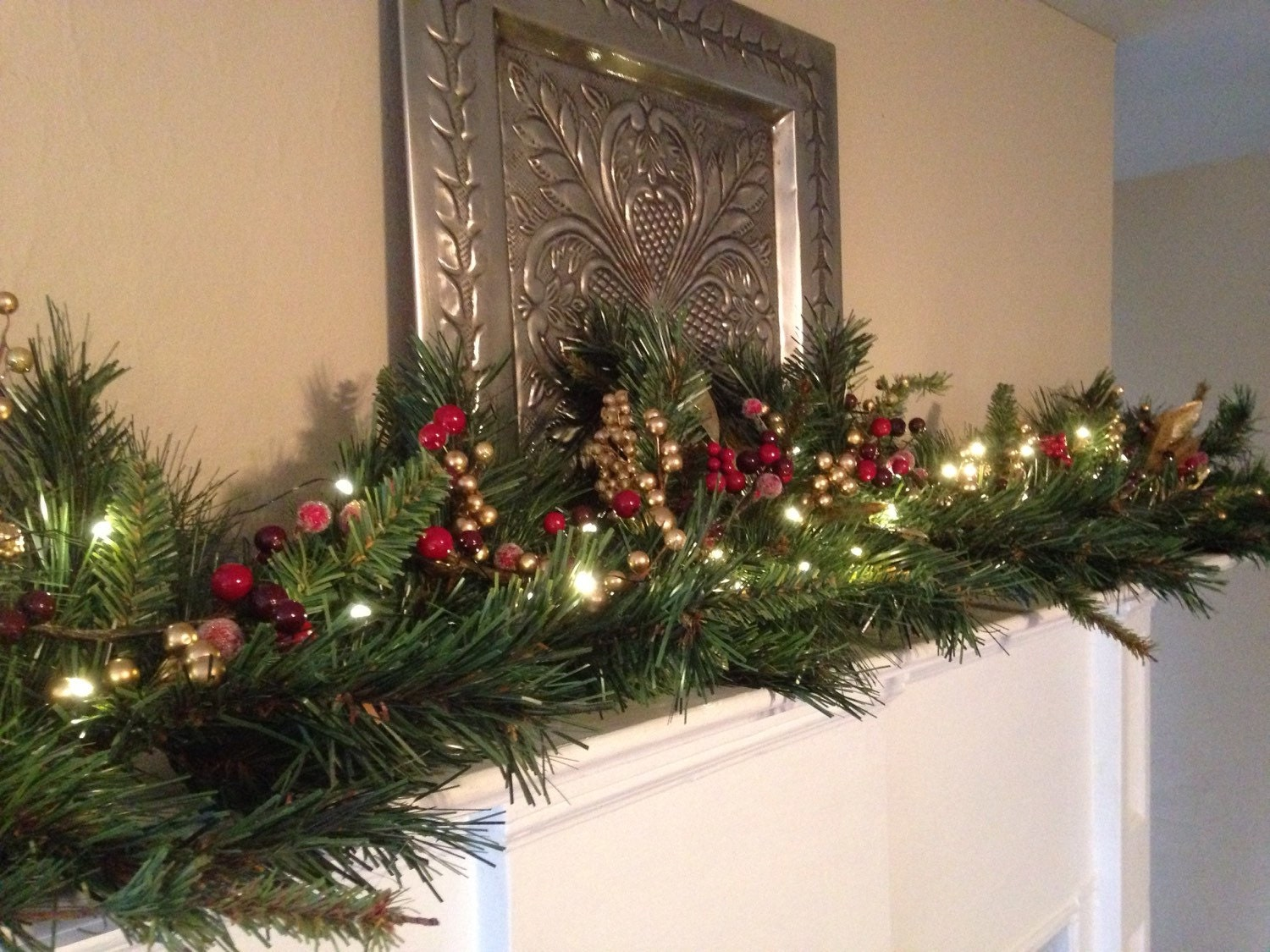 Christmas mantle garland red burgundy gold berries mantel for Christmas mantel decorations garland