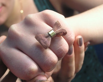 pretty copper mesh bow ring size5/6