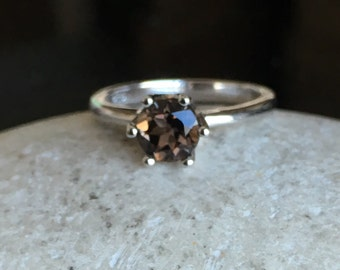 6 Prong Solitaire Ring- Classic Promise Ring- Sterling Silver Ring- Brown Stone Ring- Smoky Topaz Ring- Stack Ring- Gemstone Ring