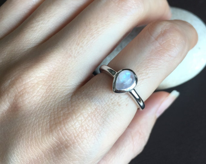 Moonstone Stackable Ring- Tiny Rainbow Moonstone Ring- Pear Shape Moonstone Ring- Bohemian Simple Ring- June Birthstone Ring