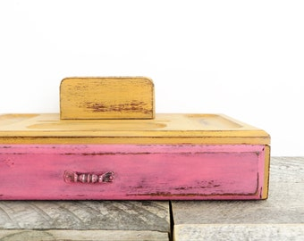 SALE - Jewelry Box Valet - Hot Pink Orange - Modern Vintage Chic