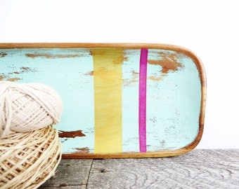Long Wood Tray - Turquoise Gold Pink - Modern Shab - Organization
