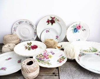 Mismatched Dishes - 12 - Small Plates - Pretty Flowers - Vintage Dishes