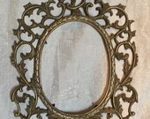 "Vintage Intricate Scrolls Antique Very Heavy 12"" Tall X 9"" Wide, Solid Brass Oval Picture Frame, Window Size 5"" X 7"""