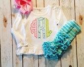 pastel scalloped circle monogram embroidered ruffle shirt-M2M Sew Sassy light pink- m2m Sew Sassy Cyan