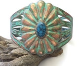 Woman's wide cuff, native american, vintage copper, blue green patina, bold, midcentury southwest, turquoise colored stone, Christi Dick Art