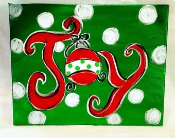 Christmas Joy Canvas Painting wrapped ready to hang acrylic painting