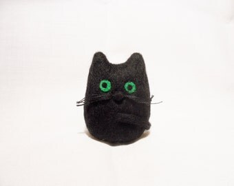 Needle Felted Cat -  miniature black cat figure - 100% merino wool - wool felt cat - needle felt animal - lucky black cat