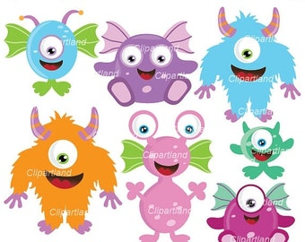 ON SALE INSTANT Download. Cm_21_Monsters. Cute monsters clip art. Personal and commercial use.