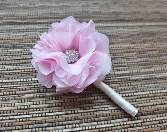 Boutonniere, Shabby Chic Chiffon Rose Boutonniere, Pleasant Pink Boutonniere