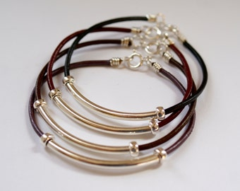 Sterling Silver and Leather Tube Bracelet, Chocolate Brown Leather, Stacking Bracelet