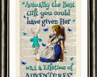 Alice in Wonderland Quote 1 Turquoise vintage book page print on a page from a late 1800s Dictionary Buy 3 get 1 FREE