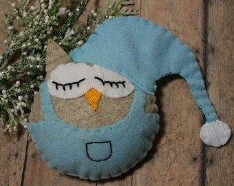 Owl ornament-Handmade felt owl ornament-Sleepy Time owl-Christmas ornament-Owl gift-Baby Shower-Blue nightcap owl