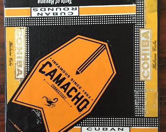 Cigar Band Collage Coaster: Black & Gold Camacho Cohiba