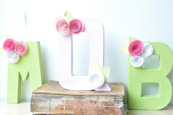 Paper Flower Letters, Paper flower decor, letter decor, hanging letter, monogram for walls