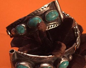 SALE Vintage Navajo DC Sterling Spiderweb Turquoise Watch Tips