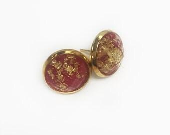 gold foil stone studs//raspberry