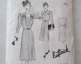 Vintage 1940s Butterick 1319 Frock One Piece Dress with 4 Gored Skirt Sweetheart Neckline Sewing Pattern Bust 38 Swing Era