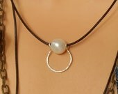 Single Pearl Leather Necklace, Pearl and Leather Necklace, Silver Horse Shoe, Hand Hammered Silver and Pearl