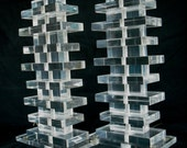 "Super Clear ""High Rise"" Stacked Lucite Lamp Pair"