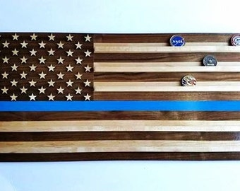 US Police Flag Coin Holder - Solid Walnut and Maple Wood - Law Enforcement