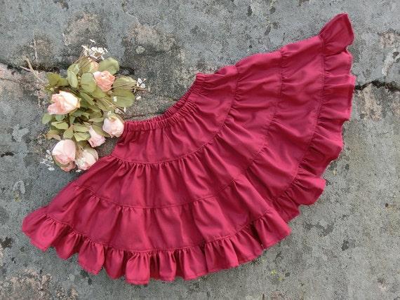 Wine Red Pettiskirt Cotton Petticoat Girls Wine Red