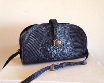 Vintage Black Tooled Leather Western Purse Southwest Crossbody Bag with Sterling Silver Buckle