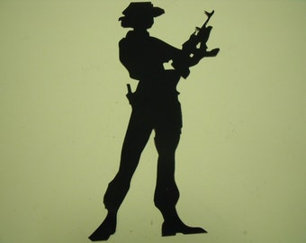 Military Woman Soldier with rifle fabric quilting die cut appliques silouhette