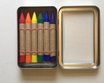 Set of 6 Oversized Traditional Soy and Bees Wax Crayons in Metal Tin