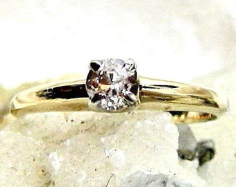 1/5ct. Vintage Diamond Engagement Ring, 14Kt Solitaire Diamond Ring, 14 Kt Diamond Ring, Size 5 Old European Cut