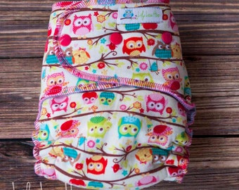 "Serged Hybrid Fitted Cloth Diaper- ""Tree Full of Owls"""