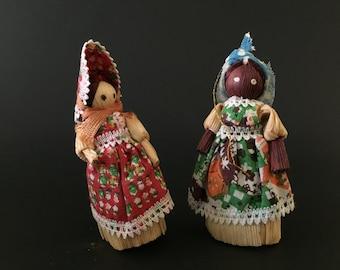 Vintage 2 Corn Husks Ornaments Figurines