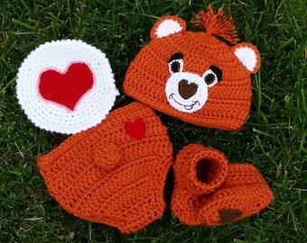 Crochet Orange Brown Care Bear Costume, Tenderheart Bear with Heart Tummy or Custom