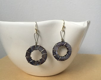 Wire Wrapped Black Circle Shell Earrings