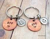 BFF Keychain Set Couple Personalized Initial Lucky Penny, Best Friends Keyring Set