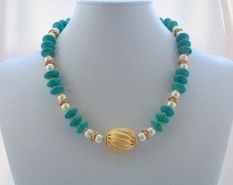 Necklace Turquoise Gemstone and Shell Pearl with Matte Gold White Gold Modern Statement GIFT IDEAS Jewelry Jewellery
