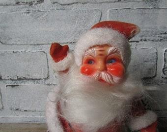 Dancing Santa Vintage Flocked Santa Claus