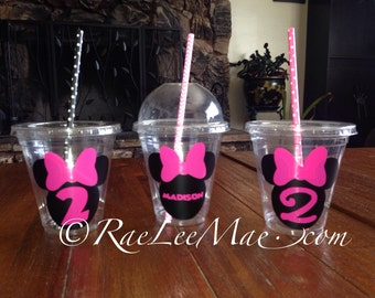 10 Minnie Mouse Baby Shower Cups with Dome Lids or Flat Lids with Straws/nautical Birthday/Popcorn cups/Fruit Cups/Drink Cups/minnie mouse