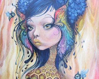 Guardian of the Bees I, large print, 11x14inch size, giclee, fine art print, art by phresha, queen bee, honeycomb, big eye art