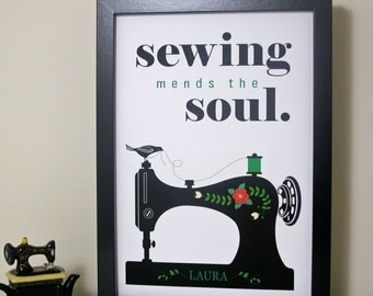 Sewing Mends The Soul Quote Print - Inspirational quote print - black sewing machine print