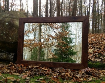 Walnut Mirror, Wood Mirror, Leaning Mirror, Large Wall Mirror
