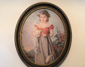 Oval Print Little Girl  / Vintage Victorian Framed Print Girl w/Cat, Dress, Purse / Vintage Shabby Chic Wall Hanging