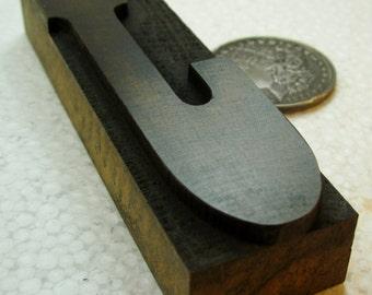 """Large 5"""" vintage wood type upper case J. Jolly nice old letter."""