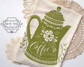 Coffee Please. Natural Cotton Flour Sack Tea Towel. Coffee Art. Vintage Inspired Coffee Pot. Hostess Housewarming gift. Gift for Her