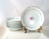 8 Fine China of Japan Royal Swirl Berry Bowls with Pink Roses and Gray Scrolls Vintage 1960s Set of 8
